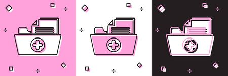 Set Medical health record folder for healthcare icon isolated on pink and white, black background. Patient file icon. Medical history symbol. Vector Illustration Ilustrace