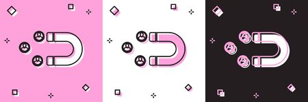 Set Customer attracting icon isolated on pink and white, black background. Customer retention, support and service. Customer people attracting with magnet. Vector Illustration Ilustrace
