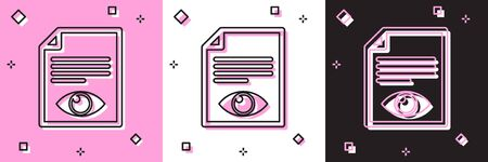 Set Paper page with eye symbol icon isolated on pink and white, black background. Open information file sign. Vector Illustration 写真素材 - 133697563
