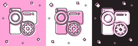 Set Video camera and gear icon isolated on pink and white, black background. Adjusting app, service concept, setting options, maintenance, repair, fixing. Vector Illustration
