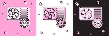 Set Air conditioner and gear icon isolated on pink and white, black background. Adjusting app, service concept, setting options, maintenance, repair, fixing. Vector Illustration