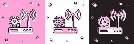 Set Router and wifi signal and gear icon isolated on pink and white, black background. Adjusting app, service concept, setting options, maintenance, repair, fixing. Vector Illustration