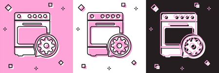 Set Oven and gear icon isolated on pink and white, black background. Adjusting app, service concept, setting options, maintenance, repair, fixing. Vector Illustration