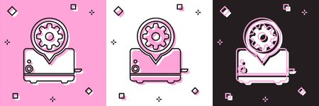 Set Toaster and gear icon isolated on pink and white, black background. Adjusting app, service concept, setting options, maintenance, repair, fixing. Vector Illustration
