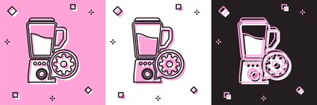 Set Blender with bowl and gear icon isolated on pink and white, black background. Adjusting app, service concept, setting options, maintenance, repair, fixing. Vector Illustration