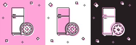 Set Refrigerator and gear icon isolated on pink and white, black background. Adjusting app, service concept, setting options, maintenance, repair, fixing. Vector Illustration Ilustração