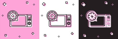 Set Microwave oven and gear icon isolated on pink and white, black background. Adjusting app, service concept, setting options, maintenance, repair, fixing. Vector Illustration