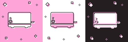 Set Toaster icon isolated on pink and white, black background. Vector Illustration