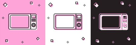 Set Microwave oven icon isolated on pink and white, black background. Home appliances icon. Vector Illustration