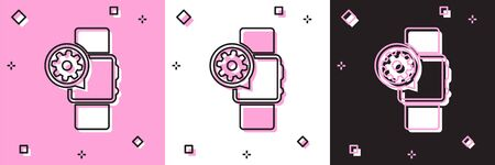 Set Smartwatch and gear icon isolated on pink and white, black background. Adjusting app, service concept, setting options, maintenance, repair, fixing. Vector Illustration