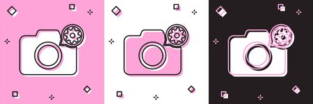 Set Photo camera and gear icon isolated on pink and white, black background. Adjusting app, service concept, setting options, maintenance, repair, fixing. Vector Illustration Ilustracja