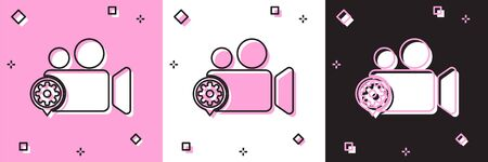 Set Movie or Video camera and gear icon isolated on pink and white, black background. Adjusting app, service concept, setting options, maintenance, repair, fixing. Vector Illustration Ilustracja
