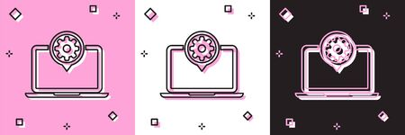 Set Laptop and gear icon isolated on pink and white, black background. Laptop service concept. Adjusting app, setting options, maintenance, repair, fixing. Vector Illustration