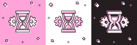 Set Hourglass and gear icon isolated on pink and white, black background. Time Management symbol. Clock and gear icon. Productivity symbol. Vector Illustration