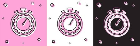 Set Time Management icon isolated on pink and white, black background. Clock and gear sign. Productivity symbol. Vector Illustration Ilustrace