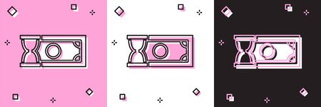 Set Fast payments icon isolated on pink and white, black background. Fast money transfer payment. Financial services, fast loan, time is money, cash back concept. Vector Illustration