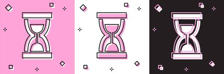 Set Old hourglass with flowing sand icon isolated on pink and white, black background. Sand clock sign. Business and time management concept. Vector Illustration
