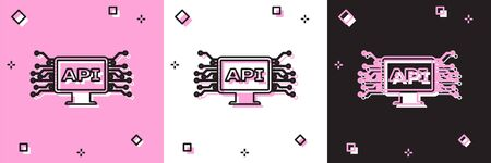 Set Computer api interface icon isolated on pink and white, black background. Application programming interface API technology. Software integration. Vector Illustration Stock fotó - 133697087