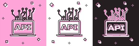Set Computer api interface icon isolated on pink and white, black background. Application programming interface API technology. Software integration. Vector Illustration Illusztráció