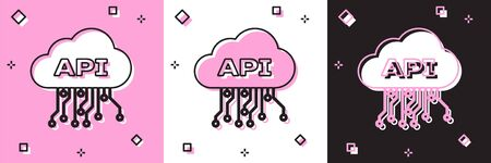 Set Cloud api interface icon isolated on pink and white, black background. Application programming interface API technology. Software integration. Vector Illustration Stock fotó - 133697448