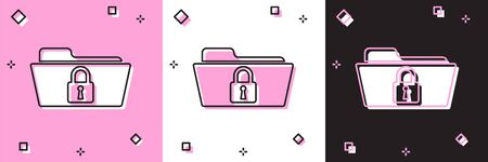 Set Folder and lock icon isolated on pink and white, black background. Closed folder and padlock. Security, safety, protection concept. Vector Illustration