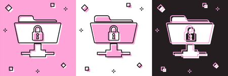 Set FTP folder and lock icon isolated on pink and white, black background. Concept of software update, ftp transfer protocol. Security, safety, protection concept. Vector Illustration