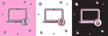 Set Laptop and lock icon isolated on pink and white, black background. Computer and padlock. Security, safety, protection concept. Safe internetwork. Vector Illustration