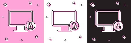 Set Lock on computer monitor screen icon isolated on pink and white, black background. Monitor and padlock. Security, safety, protection concept. Safe internetwork. Vector Illustration