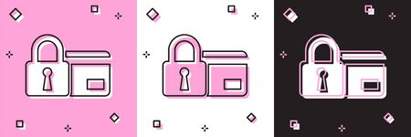 Set Credit card with lock icon isolated on pink and white, black background. Locked bank card. Security, safety, protection concept. Concept of a safe payment. Vector Illustration