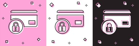 Set Credit card with lock icon isolated on pink and white, black background. Locked bank card. Security, safety, protection concept. Concept of a safe payment. Vector Illustration Stock fotó - 133697233