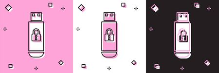 Set USB flash drive with closed padlock icon isolated on pink and white, black background. Security, safety, protection concept. Vector Illustration