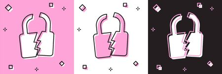 Set Broken or cracked lock icon isolated on pink and white, black background. Unlock sign. Vector Illustration Stock fotó - 133697252