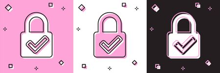 Set Open padlock and check mark icon isolated on pink and white, black background. Cyber security concept. Digital data protection. Safety safety. Vector Illustration