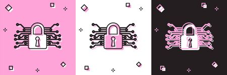 Set Cyber security icon isolated on pink and white, black background. Closed padlock on digital circuit board. Safety concept. Digital data protection. Vector Illustration