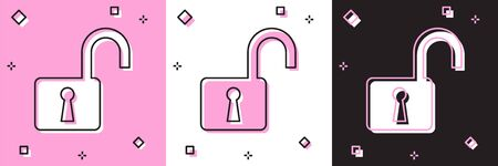 Set Open padlock icon isolated on pink and white, black background. Opened lock sign. Cyber security concept. Digital data protection. Safety safety. Vector Illustration