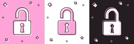 Set Open padlock icon isolated on pink and white, black background. Opened lock sign. Cyber security concept. Digital data protection. Safety safety. Vector Illustration Stock fotó - 133697256