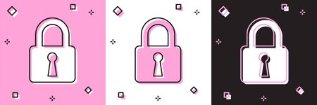 Set Lock icon isolated on pink and white, black background. Closed padlock sign. Cyber security concept. Digital data protection. Safety safety. Vector Illustration