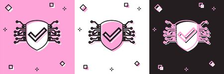 Set Cyber security icon isolated on pink and white, black background. Shield with check mark sign. Safety concept. Digital data protection. Vector Illustration Illusztráció
