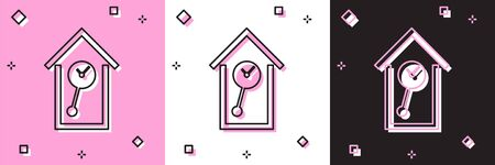 Set Retro wall watch icon isolated on pink and white, black background. Cuckoo clock sign. Antique pendulum clock. Vector Illustration