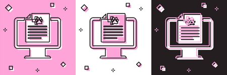Set Medical clinical record pet on monitor icon isolated on pink and white, black background. Health insurance form. Prescription, medical check marks report. Vector Illustration
