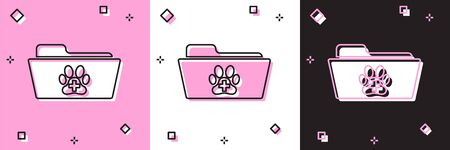 Set Medical veterinary record folder icon isolated on pink and white, black background. Dog or cat paw print. Document for pet. Patient file icon. Vector Illustration