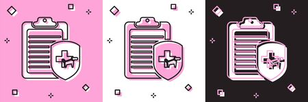 Set Clipboard with medical clinical record pet icon isolated on pink and white, black background. Health insurance form. Medical check marks report. Vector Illustration Ilustrace