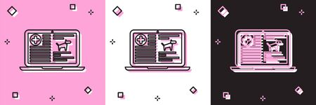 Set Medical clinical record dog on laptop icon isolated on pink and white, black background. Health insurance form. Prescription, medical check marks report. Vector Illustration