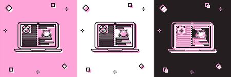 Set Medical clinical record cat on laptop icon isolated on pink and white, black background. Health insurance form. Prescription, medical check marks report. Vector Illustration Ilustrace