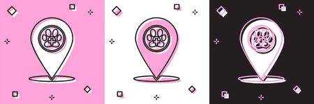 Set Map pointer with veterinary medicine hospital, clinic or pet shop for animals icon isolated on pink and white, black background. Vet or veterinarian clinic. Vector Illustration