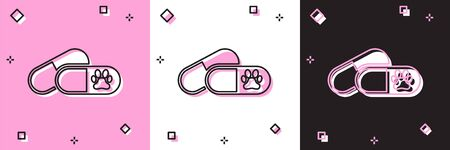 Set Dog and pills icon isolated on pink and white, black background. Prescription medicine for animal. Vector Illustration