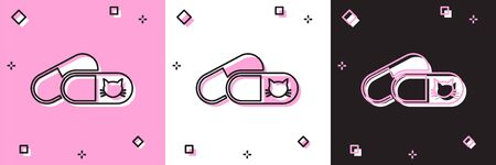 Set Cat and pills icon isolated on pink and white, black background. Prescription medicine for animal. Vector Illustration