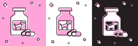 Set Dog medicine bottle and pills icon isolated on pink and white, black background. Container with pills. Prescription medicine for animal. Vector Illustration