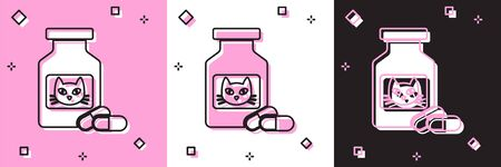 Set Cat medicine bottle and pills icon isolated on pink and white, black background. Container with pills. Prescription medicine for animal. Vector Illustration Ilustração