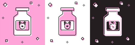 Set Dog medicine bottle icon isolated on pink and white, black background. Container with pills. Prescription medicine for animal. Vector Illustration Ilustração